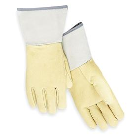 Welding Glove: Pigskin, L Size, 0.8 mm Glove Material Thickness, 12 in Glove Length, Gauntlet Cuff, Yellow, 1 PR