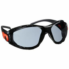 Elvex Safety Glasses: Gray, Full Frame, Anti-Fog/Scratch Resistant, Black, ANSI Z87.1-2010 (+), Nylon, Adj Temples