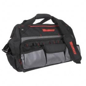 Wide-Mouthed Tool Bag: 13 in Overall Ht, 18 in Overall Lg, 22 Total # of Pockets, 12 in Overall Wd, Zipper, Polyester