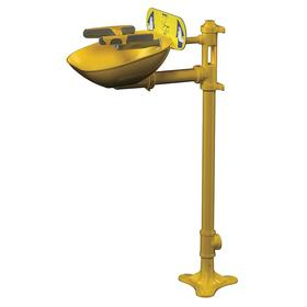 Bradley Pedestal Mount Eye & Face Wash Station: Dust Cap, Push Handle, Plastic Bowl, 1/2 Inlet, NPT