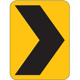 Zing Traffic Sign: 24 in Overall Ht, 18 in Overall Wd, Aluminum, Engineer Grade, Mounting Holes, Chevron, Graphic, Black