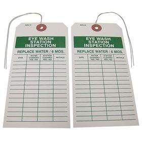 Inspection Tag: Eye Wash Station Inspection, 5 3/4 in Overall Ht, 2 7/8 in Overall Wd, Paper, 25 PK