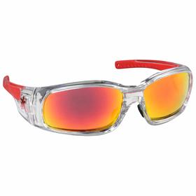MCR Safety Glasses: Red Mirror, Full Frame, Scratch Resistant, Clear, ANSI Z87+, Polycarbonate, Neck Cord