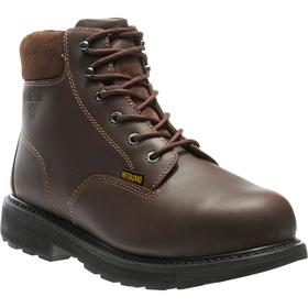 Wolverine Leather Work Boot: Metatarsal Guard, 2E Shoe Wd, 10 Men's Size, Men, Steel, 6 in Shoe Ht, Brown, 1 PR