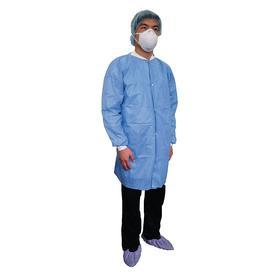 Disposable Lab Coat: XL Size, Basic SMS, Blue, Snap, 3 Pockets, Unisex
