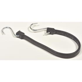 Stretchable Strap with S-Hooks: 19 in Lg, EPDM Rubber, Zinc Plated, Steel, 3/4 in Strap Wd, Black, 10 PK