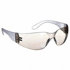 Safety Glasses: Clear Mirror, Frameless Frame, Scratch Resistant, White, ANSI Z87.1-2010, Polycarbonate, 47.24 in Arm Lg