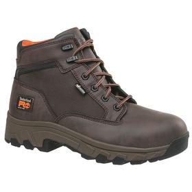 Timberland Pro Leather Work Boot: Men, Alloy, 6 in Shoe Ht, Microfiber, Brown, Chemical Resistant, 11 Men's Size, 1 PR