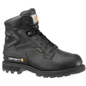 Carhartt Leather Work Boot: Men, Steel, 6 in Shoe Ht, Black, Compression/Electrical Hazard/Impact/Metatarsal Guard/Waterproof, ASTM F2413-11 EH, 1 PR