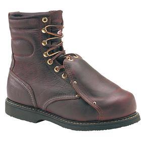 Carolina Leather Work Boot: Men, Steel, 8 in Shoe Ht, Brown, Compression/Electrical Hazard/Impact/Metatarsal Guard, Electrical Hazard Rated, 1 PR