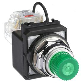 Pilot Light: 120V AC, 2.18 in Overall Lg, Full Volt, Green, Operator Interface, 50000 hr Avg Life, Chrome-Plated, Silver