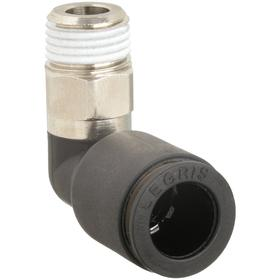 Push-to-Connect 90° Elbow: 5/16 in Port 1 Tube Size, 1/8 Pipe Size (Port 2), BSPT, Male, 290 psi Max Op Pressure, 10 PK