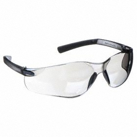 Safety Glasses: Gray Mirror, Wraparound Frame, Scratch Resistant, Gray, ANSI Z87.1-2010, Polycarbonate/Rubber