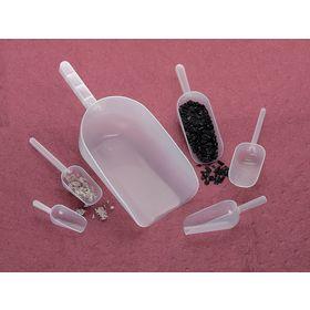 Plastic Scoop for Light Use: 75 mL Max Capacity, Translucent, Polypropylene, 2 1/2 fl oz Max Capacity US, 12 PK