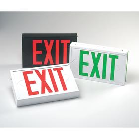Heavy Duty Metal Lighted Exit Sign: Steel, 2 Faces, Directional Indicators, Green, 3 hr Emergency Illumination Time