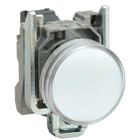 Schneider Electric Pilot Light: 120V AC, 2.13 in Overall Lg, Chrome Plated, White, 100000 hr Avg Life, Chromium, Metal