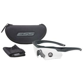ESS Ballistic Safety Glasses: Light Adaptive, Wraparound Frame, Anti-Fog/Scratch Resistant, Black, Adj Retention Strap
