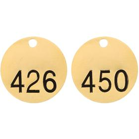 Brady Valve Tag: Round, 426 to 450 # Sequence, 1 1/2 in Overall Dia, 1/16 in Thickness, 3/16 in Hole Dia, Gold, 25 PK