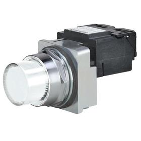 Siemens Pilot Light Complete Unit: 480V AC, Transformer, White, For LED, Chrome, Screw Terminal, AC Current Type, LED