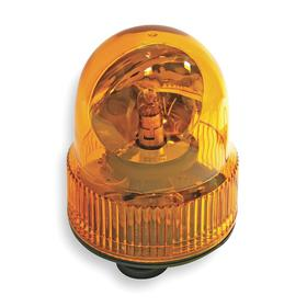 Magnetic-Mount Vehicle Beacon: Incandescent, Plastic, Polycarbonate, 6 in Overall Ht, 4 5/8 in OD, Amber, 13.5V DC