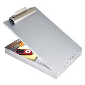 Storage Clipboard: 1 in Clip Capacity, Silver, 14 in Lg, 9 in Wd, Flip Down, 1 1/2 in Storage Dp, Aluminum, Letter