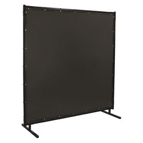 Quick-Snap Modular Welding Screen: Vinyl, Gray, Square, With Grommets, 8 ft Overall Wd, 6 ft Overall Ht, Medium