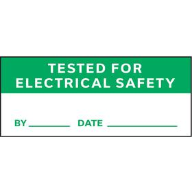 Inventory & Inspection Label: Tested for Electrical Safety/By/Date, 5/8 in Label Ht, 1 1/2 in Label Wd, 350 PK