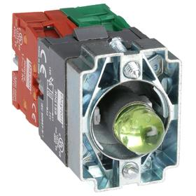 Lamp Module & Contact Block: For Chrome Operators, 1.57 in Overall Lg, Green, 2 Haz Material Indicator, LED