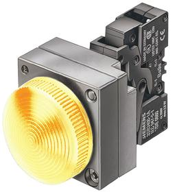 Siemens Pilot Light Complete Unit: 24V AC/DC, Brass/Zinc Die Cast, Yellow, Nickel, Screw Terminal, AC/DC Current Type