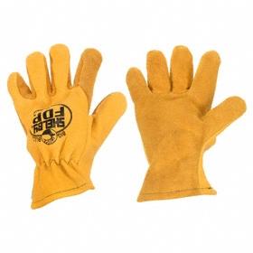 Heat-Resistant Glove: Leather Drivers Glove, L Size, Shirred Cuff, Elkskin, Thermal, Tan, 1 PR