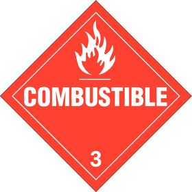Brady DOT Vehicle Placard: Combustible 3, 10 3/4 in Overall Ht, 10 3/4 in Overall Wd, Vinyl, Self-Adhesive