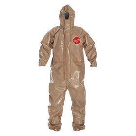 DuPont Hooded Coverall: Tychem CPF 3, Tan, Hook & Loop/Zipper, 60.25 in Max Chest Size, 32.25 in Inseam Lg, 6 PK