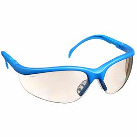 Safety Glasses: Clear Mirror, Wraparound Frame, Scratch Resistant, Blue, ANSI Z87.1-2010, Nylon, Temple Extensions