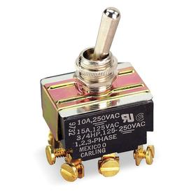General Duty Toggle Switch: Non-Illuminated, 3 Positions, 17 A @ 125V AC Switch Rating, 3 Poles, On-Off-On, 3PDT