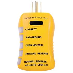 AW Sperry Receptacle Tester: 125 V AC Max Input Volt, CE Complaint/ETL/UL Listed, Yellow, ABS, LED, 20 A Load Current