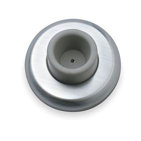 Wall Bumper: Screw-In, 2 1/2 in Base Dia, 1 in Projection, Steel, Satin Steel