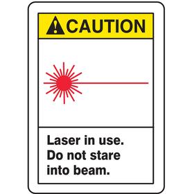 Laser Sign: Caution, 14 in Overall Ht, 10 in Overall Wd, Vinyl, Self-Adhesive