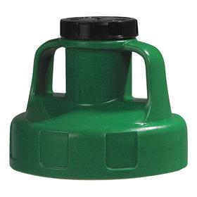 Quick-Identify Lid: Round, Pump/Pour, Green, High-Density Polyethylene, 5 13/16 in Lid OD, 4 3/4 in Overall Ht