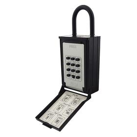 NuSet Door Knob Key Lock Box: 5 Key Capacity, Black/Silver, 2 1/2 in Shackle Vertical Clearance, 7 3/4 in Overall Ht