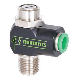Needle Valve: 1/4 in Tube OD, Anodized Aluminum, Screwdriver, Tube, NPT, 16 cfm Max Air Flow, 0.30 Coefficient of Volume