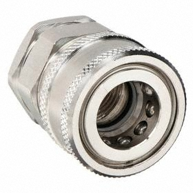 Parker Hannifin Quick-Disconnect Socket: Snap-Tite H Compatible, 1/4 in Coupling Size, Stainless Steel, Buna-N, NPSF
