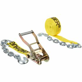 Tie-Down Strap with Ratchet and Chain Anchors: 1 in Strap Wd, 15 ft Overall Lg, 700 lb Max Load Capacity, Steel, Black