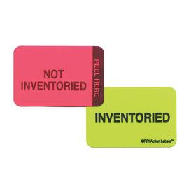 Roll Products Inventory & Inspection Label: Pink/Green, Inventoried/Not Inventoried, 1 in Label Ht, 1 1/2 in Label Wd