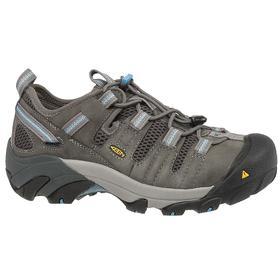 Keen Static-Dissipative Athletic-Style Work Shoe: Women, Steel, Leather, Gargoyle, Good Mfr Suggested Sole Slip Rating, Wide Toe Cap, B Shoe Wd, 1 PR