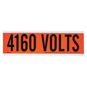 Brady Cable & Wire Marker: 9 in Marker Wd, Vinyl, 2 1/4 in Marker Ht, Orange, 1 7/8 in Character Height_A Label Style_Highly Visible, Preprinted