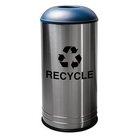 Metal Recycling Container: For Bottles/Cans/Paper/Plastic, 18 gal Capacity, 31 in Overall Ht, Stainless Steel, Recycle