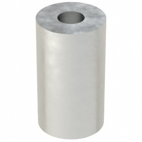 Aluminum Spacer: Imperial, 1/4 in Screw Size, 5/8 in Overall Lg, +/-0.005 in Overall Lg Tolerance, 1/4 in ID, 10 PK