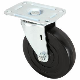 Plate Caster: 3 in Wheel Dia, Swivel, Black Tread, Rubber Tread, Hard Relative Tread Hardness, Delrin, 1 in Wheel Wd, D
