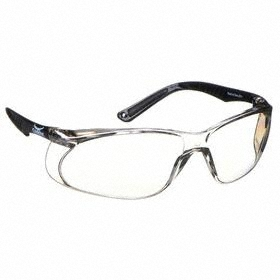 Safety Glasses: Clear Mirror, Wraparound Frame, Scratch Resistant, Black, ANSI Z87.1-2010, Polycarbonate, 180°
