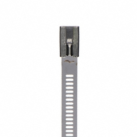 Metal Cable Tie: 316 Stainless Steel, Smooth Body, 6 in Lg, 5/16 in Wd, 0.01 in Thickness, 10 PK